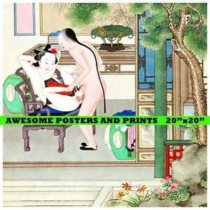 """Chinese Erotic Painting: QING DYNASTY: (001) Restored Reproduction Print 20""""x20"""""""
