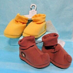 Winnie the Pooh & Peter Pan Baby Slippers 2 Pk Set 0-6 M & 6-12 M Yellow/Brown