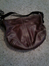used   dark Brown leather  handbag by Coach