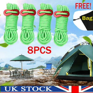 8PCS Reflective Tent Ropes w/ Buckle Camping Awning Guide Rope 4m Adjustable UK