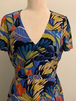 J. Crew Mercantile  Women's Sz 10 Floral Print All Over Blue Short Sleeves Dress