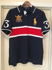 NWT XXL POLO RALPH LAUREN CUSTOM FIT PRL RED WHT BLUE GOLD RUGBY MESH POLO SHIRT