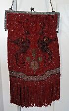 Vintage Heavily Beaded Red Antique Fringed Purse Bag w Bird Motif on both sides