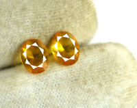 Oval Yellow Sapphire Gemstone Pair 2.65 Ct Natural Ceylon 8 x 7 mm Certified
