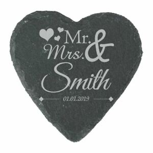 Personalised Engraved Heart Slate Wedding Coaster Mr&Mrs with Hearts