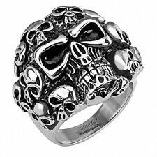 Biker Rocker Ring Edelstahl Silbern Schwarz Fingerring mit vielen Totenköpfen