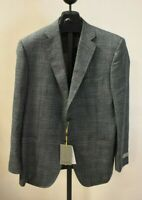 CANALI Size 52 ( Large ), Dark Grey Green Blue  Wool Suit Jacket - Made In Italy
