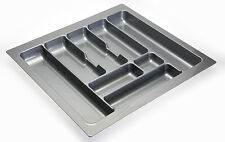 Cutlery tray inserts for kitchen drawers, grey or white plastic, sizes 300-1000