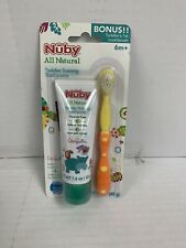 Nuby Toddlers First toothbrush And Training Toothpaste Yellow/Orange New