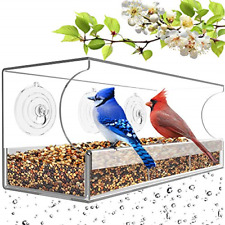 New listing Remunkia Wild Bird Feeder Larger Capacity Sliding Seed Tray with Drain Holes for