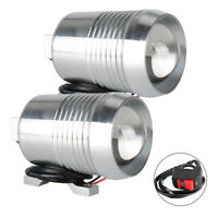 2PC Motorcycle ATV 30W LED Headlight High Low Beam Light Lamp Spot Switch ON/OFF