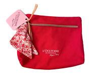 L'Occitane en Provence Makeup Bag~Zipper Closure~Pink/Floral~NWT
