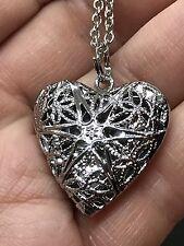 "Heart Star Locket Silver Filigree Charm Tibetan Silver 18"" Necklace D335"