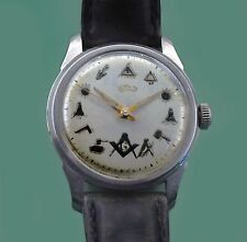 Vintage 40's Masonic Dial Men's Classic Stainless Swiss Watch by GODIVA Watch co