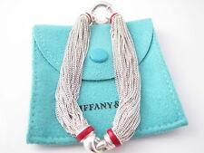 Tiffany & Co Silver RARE Red Enamel Multi Strand Chain Mesh Bracelet Bangle!