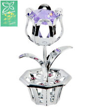 Collectable Crystocraft Crystal Gift - Tulip Flower - Swarovski Elements Blue