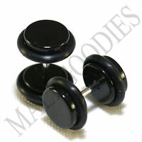 2009 Black Fake Cheater Illusion Faux Ear Plugs 16G Bar - 0G = 8mm Look - 2pcs