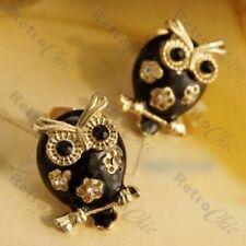 BLACK ENAMEL rhinestone OWL crystal STUD EARRINGS gold plated RETRO studs flower