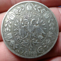Austria 5 Corona 1909 Extremely Fine Large Silver Coin - Franz Joseph I