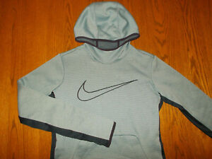 NIKE DRI-FIT GRAY STRIPED SEMI-FITTED HOODED SWEATSHIRT WOMENS LARGE EXCELLENT