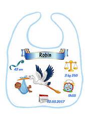 Bavoir bébé garçon cigogne qui annonce bébé réf G20 personnalisé avec prénom