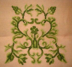 Vintage Green Scrolls Preworked Design Chair Seat Canvas Needlepoint  EP