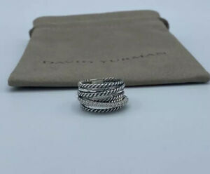 David Yurman Sterling Silver Diamond Crossover Cable Wide Band Ring Size 8.5