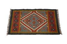 Handmade Small Vintage Design Rug Jute Wool Multi Coloured Rug
