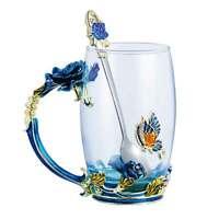 350ML Enamel  Glass Tea Cup Coffee Mug Rose Flower Tea Mug Great for Valentine