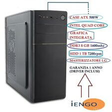 "PC COMPUTER DESKTOP FISSO ASSEMBLATO INTEL QUAD CORE/RAM 8GB/HD 1TB ""COMPLETO"""