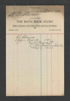 1905 THE BATH BOOK STORE BATH NY ANTIQUE STATEMENT BILLHEAD