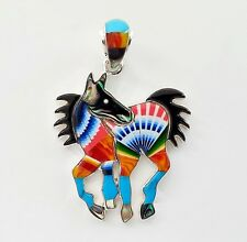 PRECISE HANDCRAFTED HORSE IN TURQUOISE/MULTICOLOR INLAY IN .925 SILVER PENDANT