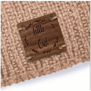 Personalise this space Walnut SQUARE 20mm x 20mm Wooden Labels Knit - 033