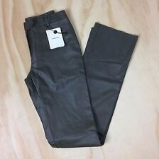 NWT Costume National Women's 42/S Olive Leather Straight Leg Pants Made in Italy