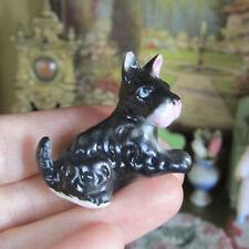 Vtg Dollhouse Porcelain Black Scottie Terrier Dog Miniature Animal Figurine 1:12