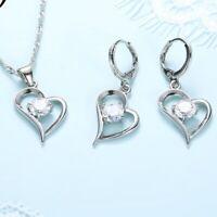 925er Silber Plattierte Ohrringe und Collier im Set Zirkonia Halskette Herzform