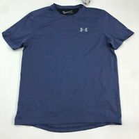 NWT Under Armour Running Shirt Men's Medium Short Sleeve Blue Black Polyester
