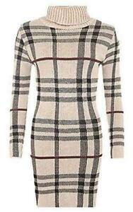 New Ladies Polo Neck Tartan Knitted Midi Women Long Sleeve Bodycon Jumper Dress