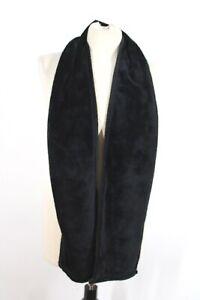 NWT Lands End Solid Black Fuzzy Fleece Oblong Rectangle Muffler Scarf 7.5x63