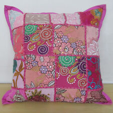 """16"""" Indian Pink Pillow Cushion Cover Throw Ethnic Indian Home Decor Handmade Art"""