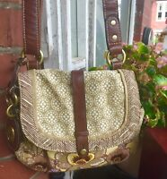 FOSSIL CROSSBODY CANVAS EMBROIDERED SMALL SHOULDER BAG VINTAGE BEAUTY NWOT 🦋🥀