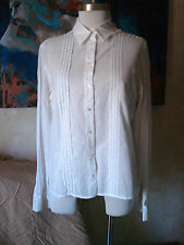 JIGSAW, UK 100% Batiste COTTON Long Sleeve TUXEDO Shirt BLOUSE Tunic ~ White 14