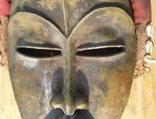 Vintage Brass Bronze Dan tribal Mask Raffia African art decorated Cowrie Shell