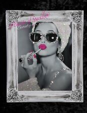 Audrey Hepburn Pink Lips Glitter Canvas Picture Shabby Chic frame , Wall Art.