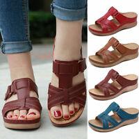 Ladies Women Orthopedic Heel Slip On Open Toe Mules Sandals Shoes