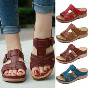 Ladies Women Orthopedic Heel Slip On Open Toe Mules Sandals Shoes New Slipp`