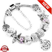 "925 FASHION AUTHENTIC BRACELET WITH ""LOVE STORY"" EUROPEAN CHARMS SILVER"