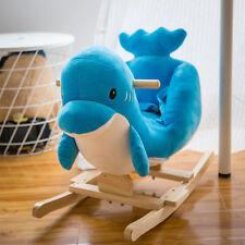 Baby Kids Toy Plush Rocking Horse Little Blue Dolphin Theme Style Riding Rocker