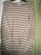 MARKS AND SPENCER MENS DARK NEUTRAL & WHITE JUMPER WITH ELBOW PATCHES SIZE L
