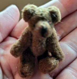"""VINTAGE 1.75"""" TINY Miniature PLUSH BROWN JOINTED BEAR"""